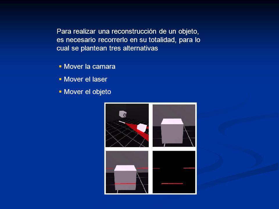 Para realizar una reconstrucción de un objeto, es necesario recorrerlo en su totalidad, para lo cual se plantean tres alternativas Mover la camara Mover el laser Mover el objeto