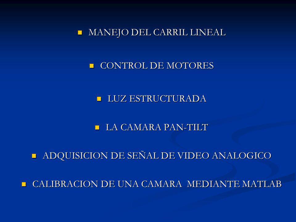 MANEJO DEL CARRIL LINEAL MANEJO DEL CARRIL LINEAL CONTROL DE MOTORES CONTROL DE MOTORES LUZ ESTRUCTURADA LUZ ESTRUCTURADA LA CAMARA PAN-TILT LA CAMARA