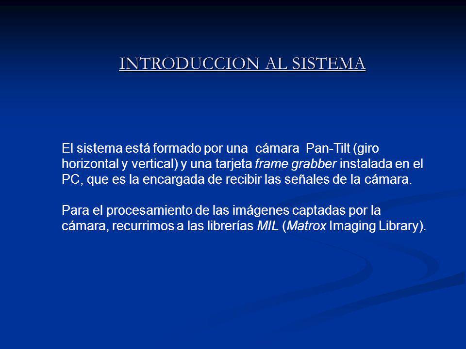 INTRODUCCION AL SISTEMA INTRODUCCION AL SISTEMA El sistema está formado por una cámara Pan-Tilt (giro horizontal y vertical) y una tarjeta frame grabber instalada en el PC, que es la encargada de recibir las señales de la cámara.