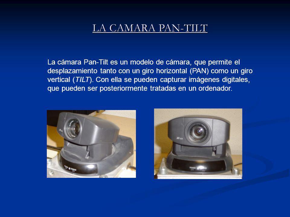 LA CAMARA PAN-TILT LA CAMARA PAN-TILT La cámara Pan-Tilt es un modelo de cámara, que permite el desplazamiento tanto con un giro horizontal (PAN) como un giro vertical (TILT).