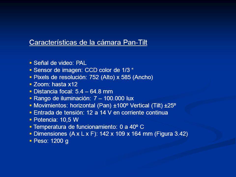 Características de la cámara Pan-Tilt Señal de video: PAL Sensor de imagen: CCD color de 1/3 Pixels de resolución: 752 (Alto) x 585 (Ancho) Zoom: hast