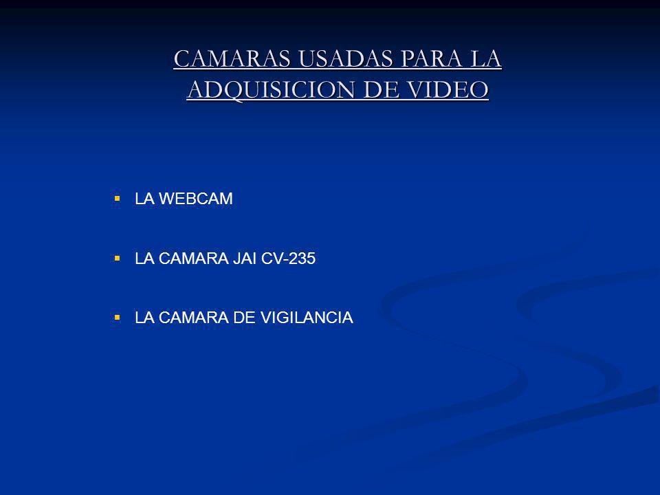 CAMARAS USADAS PARA LA ADQUISICION DE VIDEO LA WEBCAM LA CAMARA JAI CV-235 LA CAMARA DE VIGILANCIA