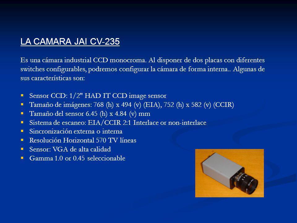 LA CAMARA JAI CV-235 Es una cámara industrial CCD monocroma. Al disponer de dos placas con diferentes switches configurables, podremos configurar la c