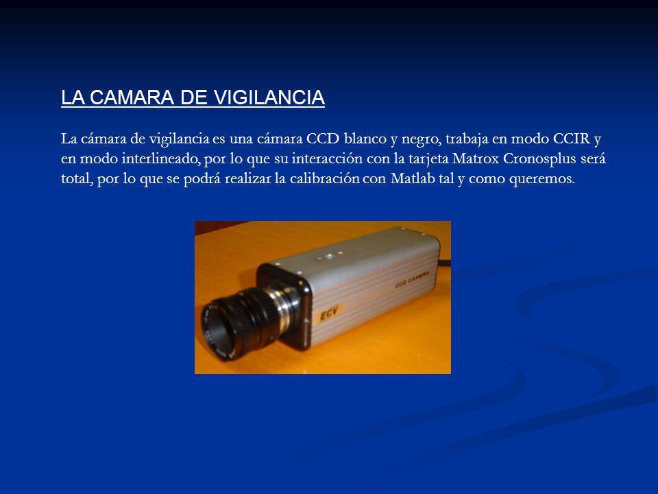 LA CAMARA DE VIGILANCIA La cámara de vigilancia es una cámara CCD blanco y negro, trabaja en modo CCIR y en modo interlineado, por lo que su interacción con la tarjeta Matrox Cronosplus será total, por lo que se podrá realizar la calibración con Matlab tal y como queremos.