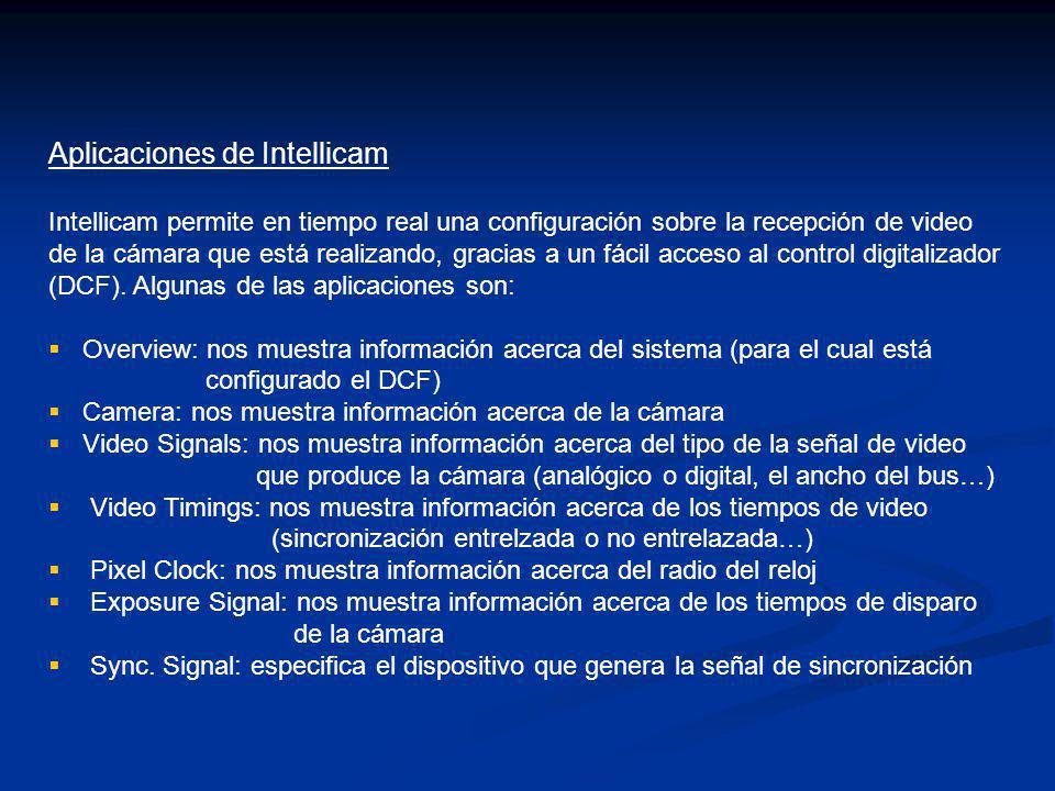 Aplicaciones de Intellicam Intellicam permite en tiempo real una configuración sobre la recepción de video de la cámara que está realizando, gracias a