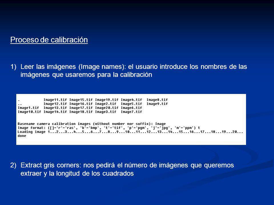 Proceso de calibración 1)Leer las imágenes (Image names): el usuario introduce los nombres de las imágenes que usaremos para la calibración 2)Extract
