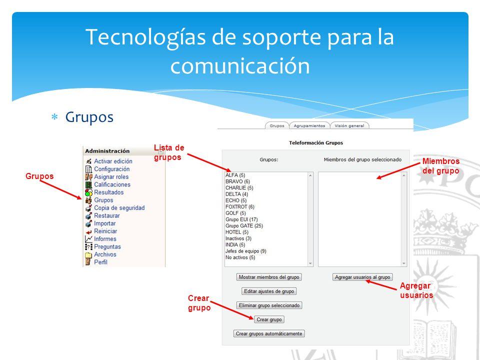 Tecnologías de soporte para la comunicación Grupos Crear grupo Agregar usuarios Miembros del grupo Lista de grupos