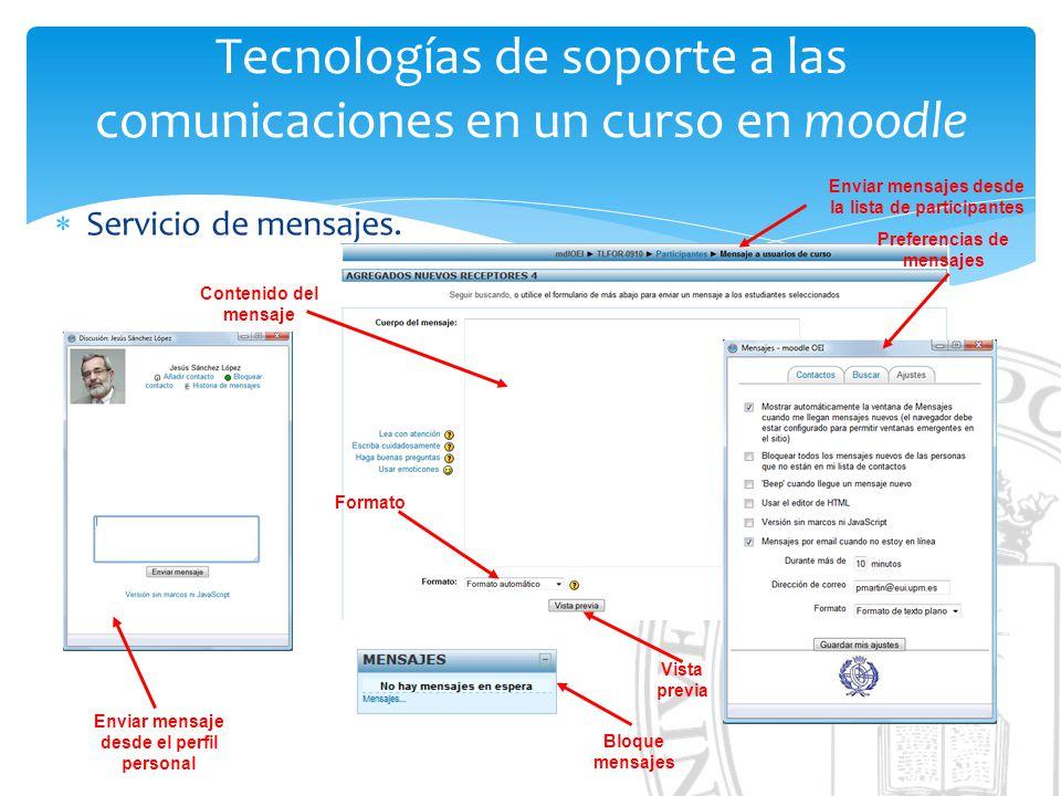 Tecnologías de soporte a las comunicaciones en un curso en moodle Servicio de mensajes.