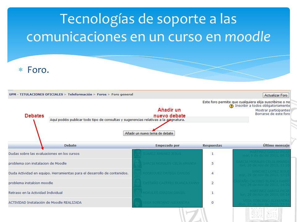 Tecnologías de soporte a las comunicaciones en un curso en moodle Foro.