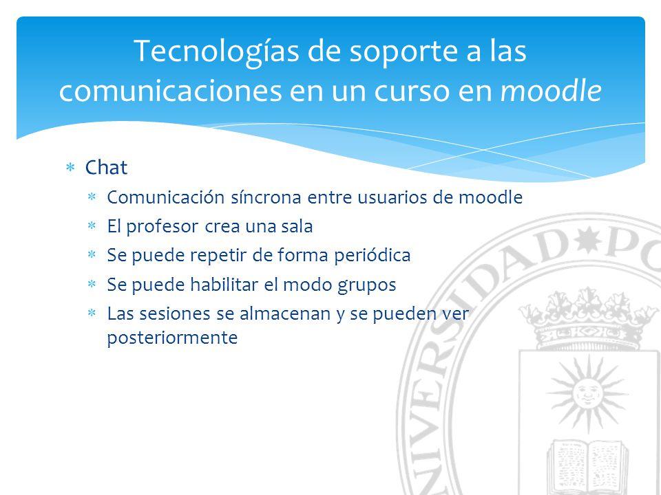 Tecnologías de soporte a las comunicaciones en un curso en moodle Chat Comunicación síncrona entre usuarios de moodle El profesor crea una sala Se puede repetir de forma periódica Se puede habilitar el modo grupos Las sesiones se almacenan y se pueden ver posteriormente