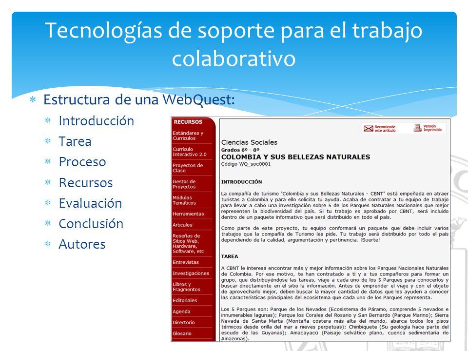 Tecnologías de soporte para el trabajo colaborativo Estructura de una WebQuest: Introducción Tarea Proceso Recursos Evaluación Conclusión Autores