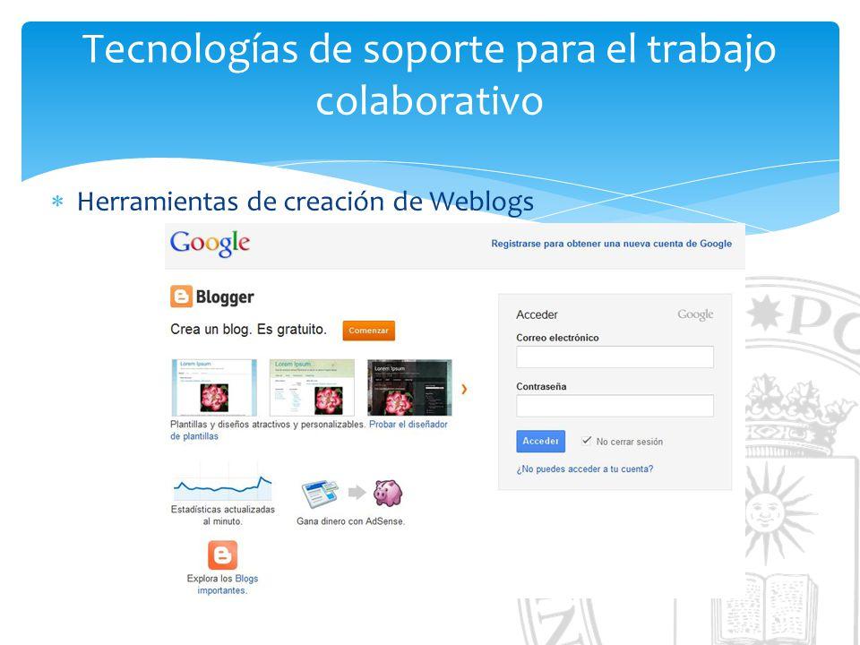 Tecnologías de soporte para el trabajo colaborativo Herramientas de creación de Weblogs