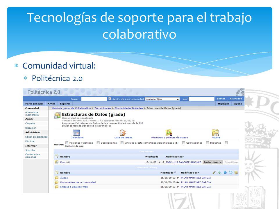 Tecnologías de soporte para el trabajo colaborativo Comunidad virtual: Politécnica 2.0