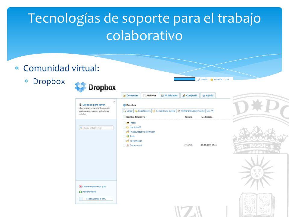 Tecnologías de soporte para el trabajo colaborativo Comunidad virtual: Dropbox