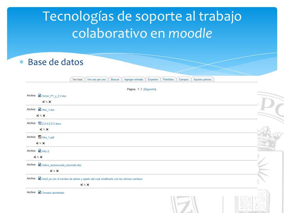 Tecnologías de soporte al trabajo colaborativo en moodle Base de datos