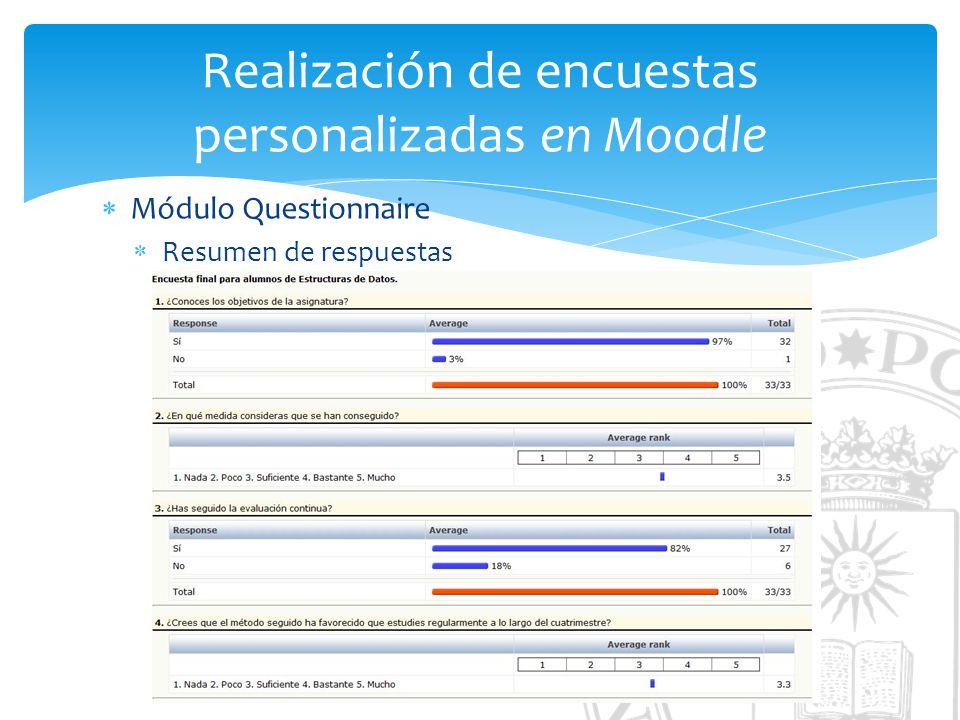Realización de encuestas personalizadas en Moodle Módulo Questionnaire Resumen de respuestas