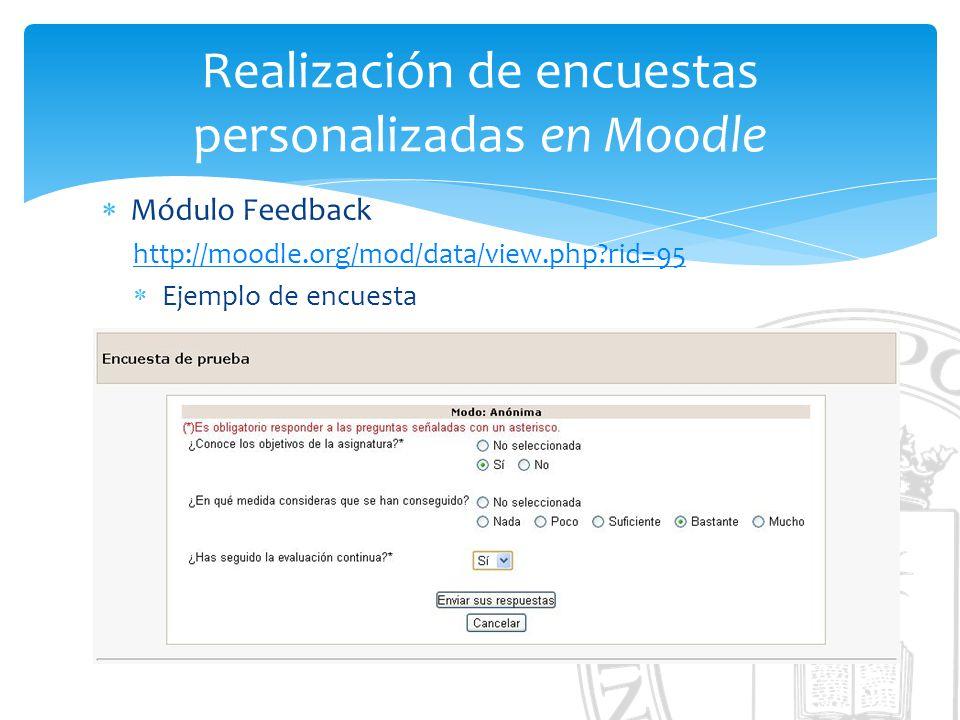 Realización de encuestas personalizadas en Moodle Módulo Feedback http://moodle.org/mod/data/view.php?rid=95 Ejemplo de encuesta