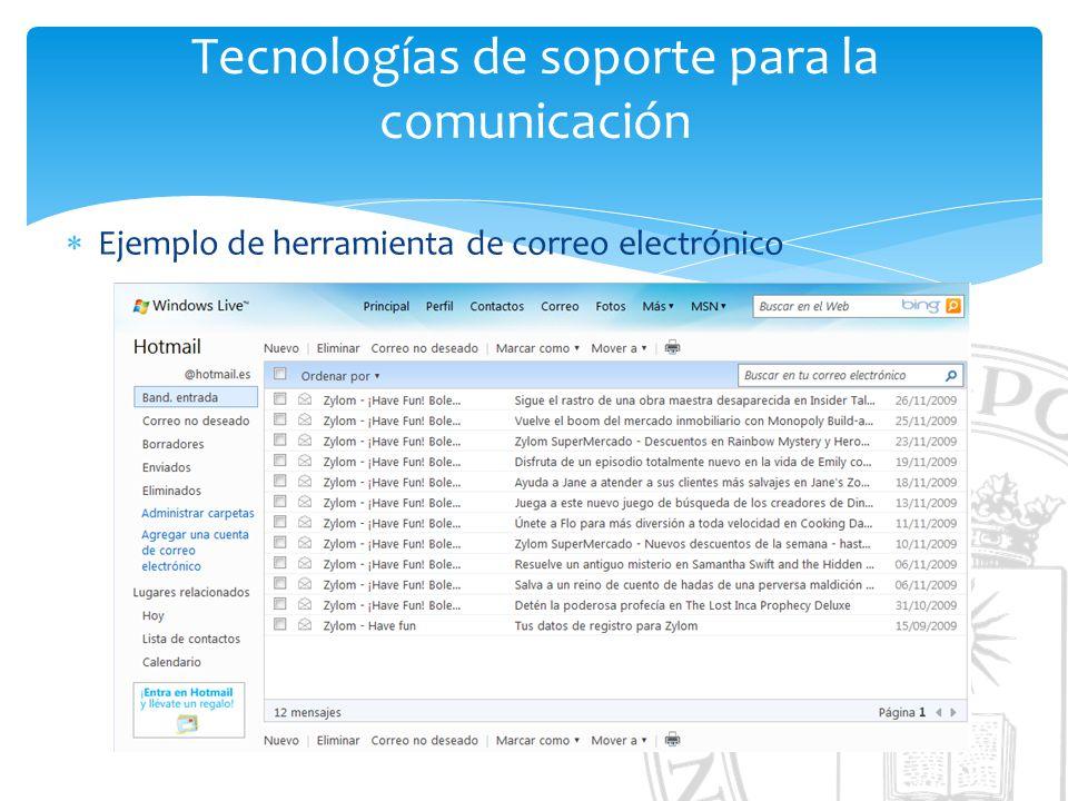 Tecnologías de soporte para la comunicación Ejemplo de herramienta de correo electrónico
