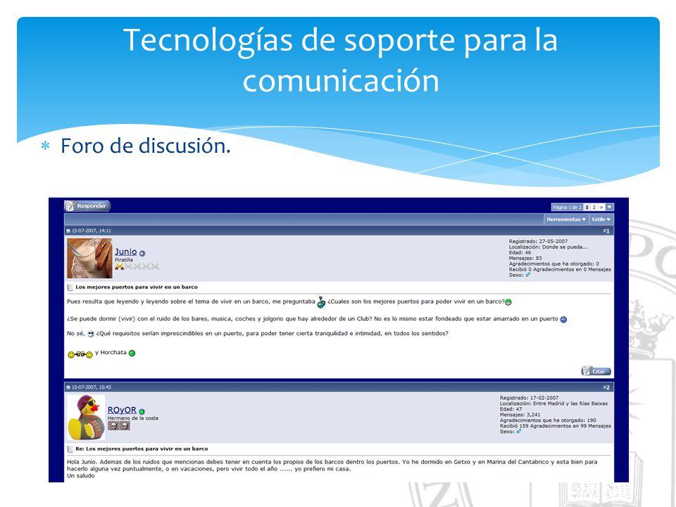 Tecnologías de soporte para la comunicación Foro de discusión.