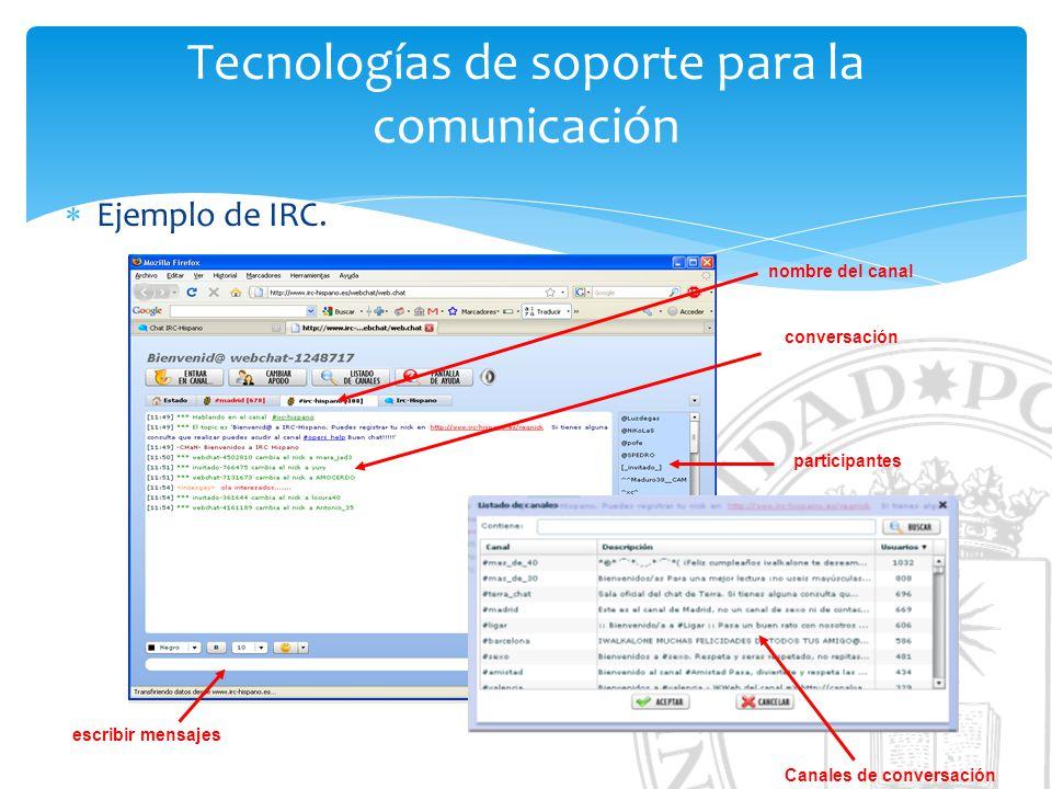 Tecnologías de soporte para la comunicación Ejemplo de IRC.