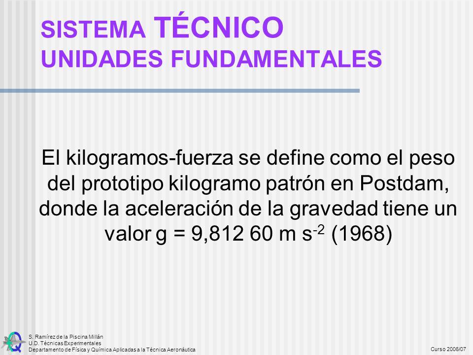 S. Ramírez de la Piscina Millán U.D. Técnicas Experimentales Departamento de Física y Química Aplicadas a la Técnica Aeronáutica Curso 2006/07 El kilo