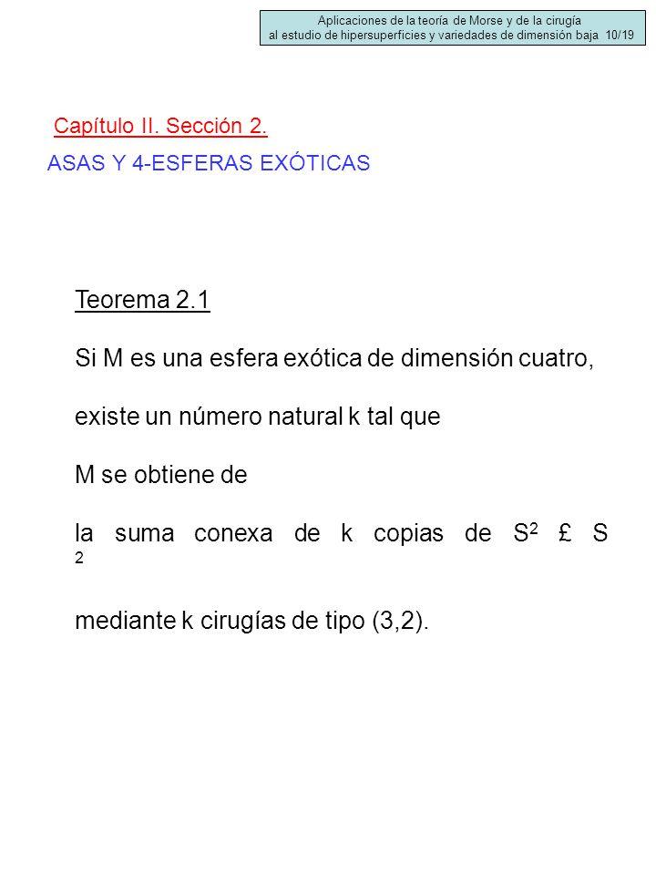 ASAS Y 4-ESFERAS EXÓTICAS Capítulo II. Sección 2. Teorema 2.1 Si M es una esfera exótica de dimensión cuatro, existe un número natural k tal que M se