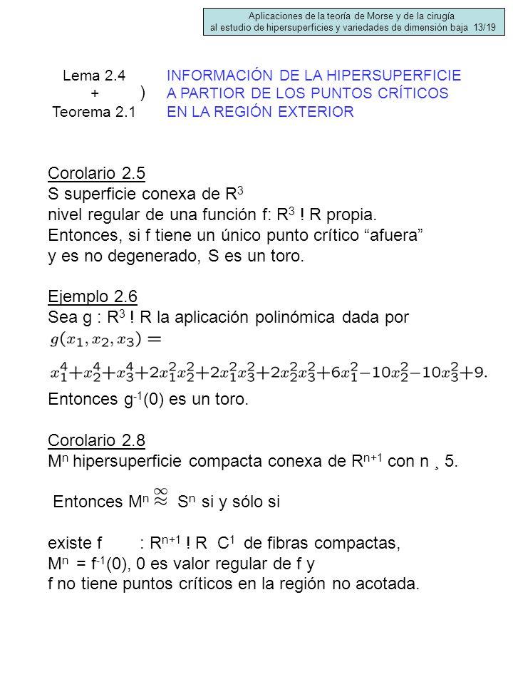 Corolario 2.5 S superficie conexa de R 3 nivel regular de una función f: R 3 ! R propia. Entonces, si f tiene un único punto crítico afuera y es no de