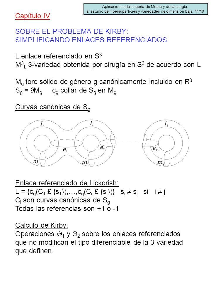 SOBRE EL PROBLEMA DE KIRBY: SIMPLIFICANDO ENLACES REFERENCIADOS Capítulo IV L enlace referenciado en S 3 M 3 L 3-variedad obtenida por cirugía en S 3