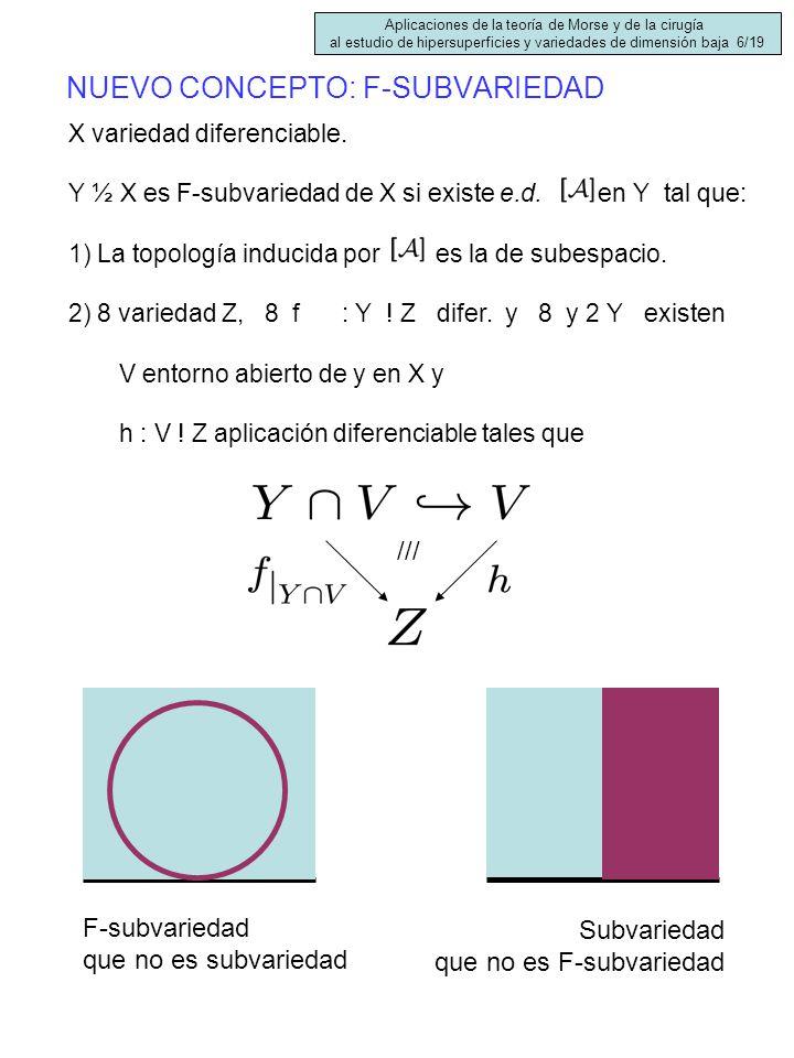 NUEVO CONCEPTO: F-SUBVARIEDAD X variedad diferenciable. Y ½ X es F-subvariedad de X si existe e.d. en Y tal que: 1) La topología inducida por es la de