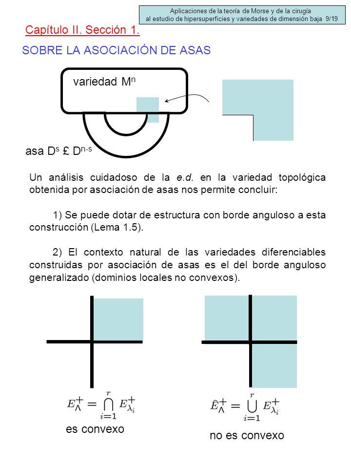 SOBRE LA ASOCIACIÓN DE ASAS Capítulo II. Sección 1. Un análisis cuidadoso de la e.d. en la variedad topológica obtenida por asociación de asas nos per
