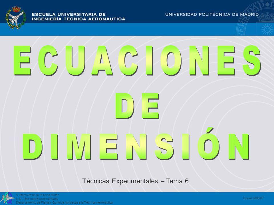 S. Ramírez de la Piscina Millán U.D. Técnicas Experimentales Departamento de Física y Química Aplicadas a la Técnica Aeronáutica Curso 2006/07 Técnica