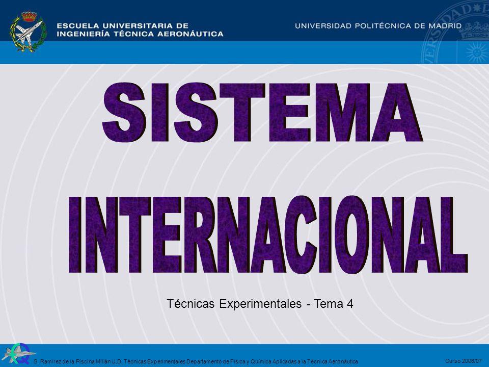 Técnicas Experimentales - Tema 4 Curso 2006/07 S. Ramírez de la Piscina Millán U.D. Técnicas Experimentales Departamento de Física y Química Aplicadas