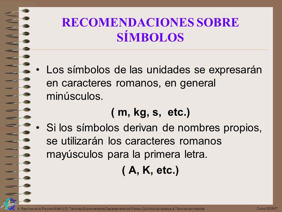 Curso 2006/07 S. Ramírez de la Piscina Millán U.D. Técnicas Experimentales Departamento de Física y Química Aplicadas a la Técnica Aeronáutica RECOMEN
