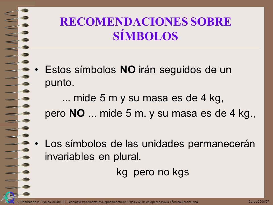 Curso 2006/07 S. Ramírez de la Piscina Millán U.D. Técnicas Experimentales Departamento de Física y Química Aplicadas a la Técnica Aeronáutica Estos s