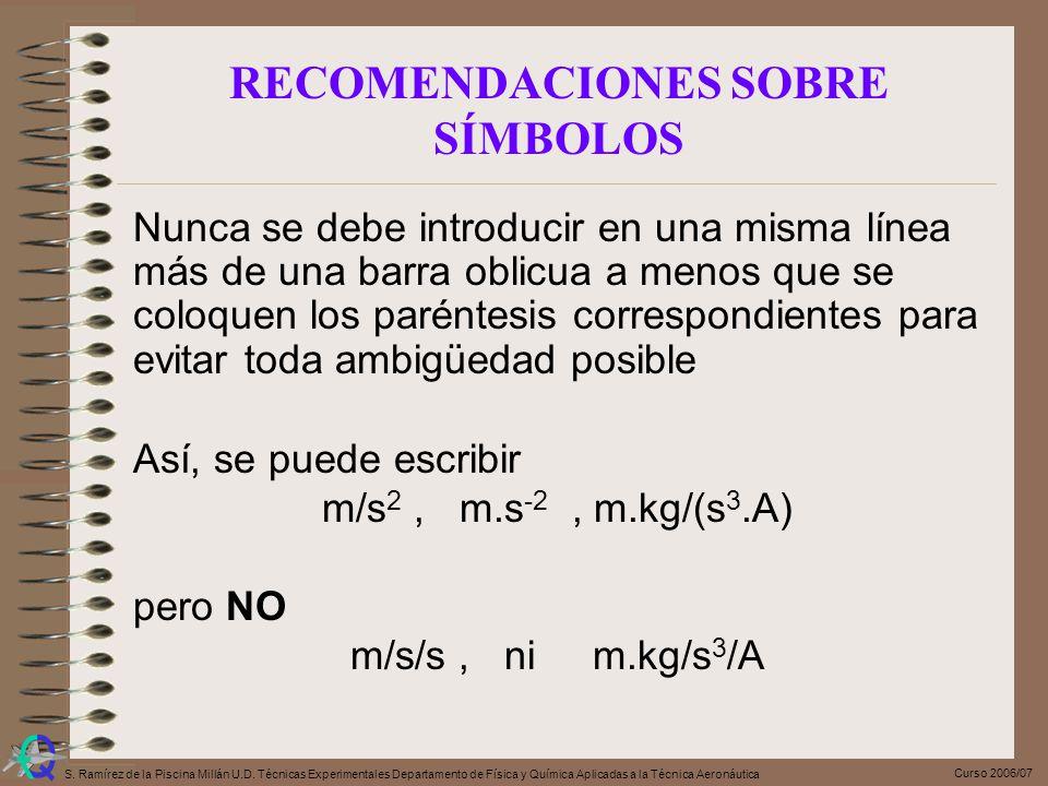 Curso 2006/07 S. Ramírez de la Piscina Millán U.D. Técnicas Experimentales Departamento de Física y Química Aplicadas a la Técnica Aeronáutica Nunca s