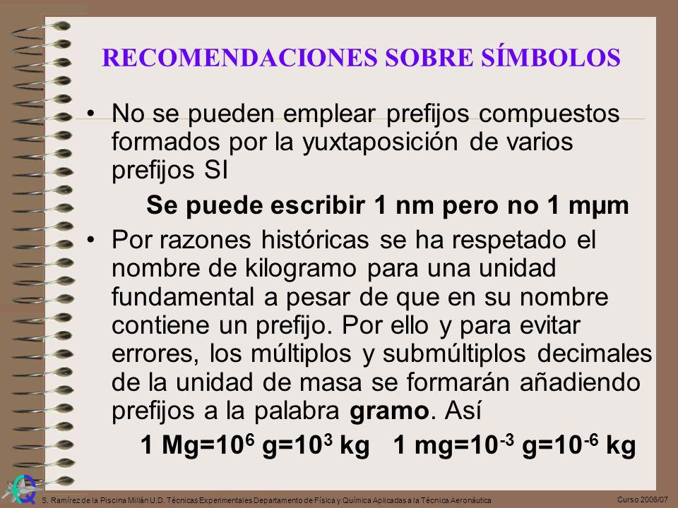 Curso 2006/07 S. Ramírez de la Piscina Millán U.D. Técnicas Experimentales Departamento de Física y Química Aplicadas a la Técnica Aeronáutica No se p