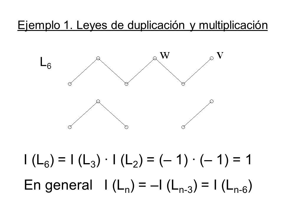 Ejemplo 1. Leyes de duplicación y multiplicación I (L 6 ) = I (L 3 ) · I (L 2 ) = (– 1) · (– 1) = 1 En general I (L n ) = –I (L n-3 ) = I (L n-6 ) L6L
