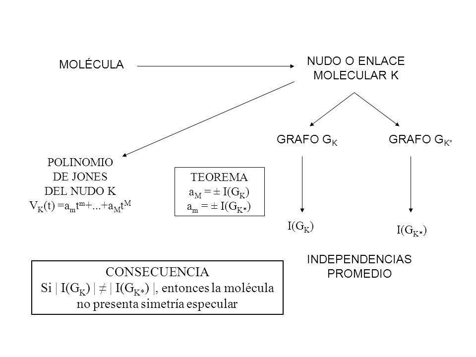 NUDO O ENLACE MOLECULAR K MOLÉCULA GRAFO G K* GRAFO G K I(G K ) I(G K* ) TEOREMA a M = ± I(G K ) a m = ± I(G K* ) INDEPENDENCIAS PROMEDIO CONSECUENCIA