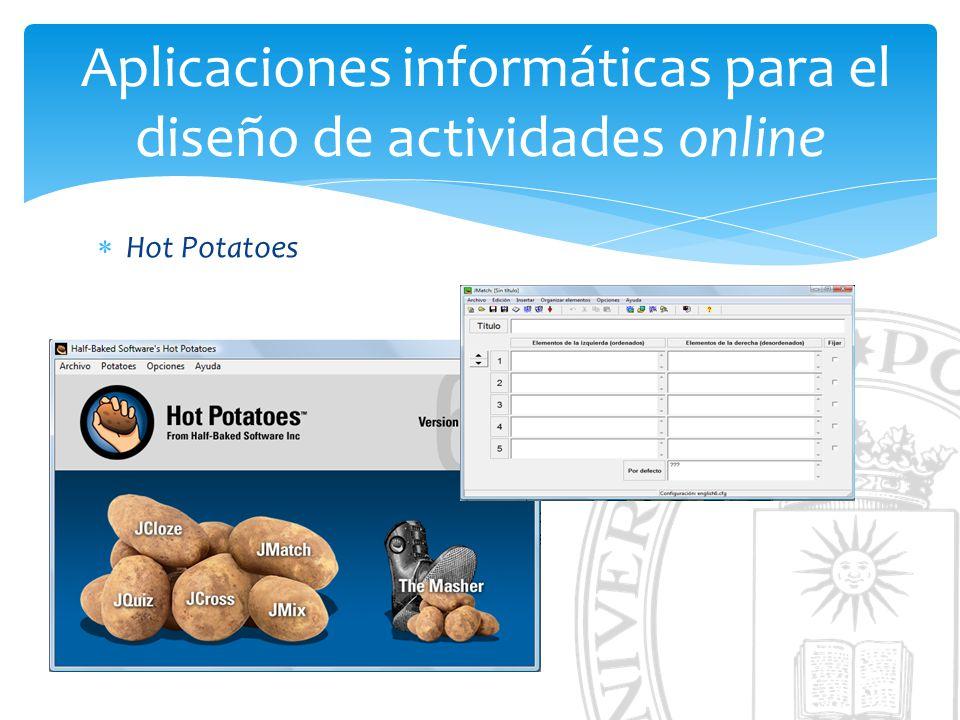 Aplicaciones informáticas para el diseño de actividades online Hot Potatoes
