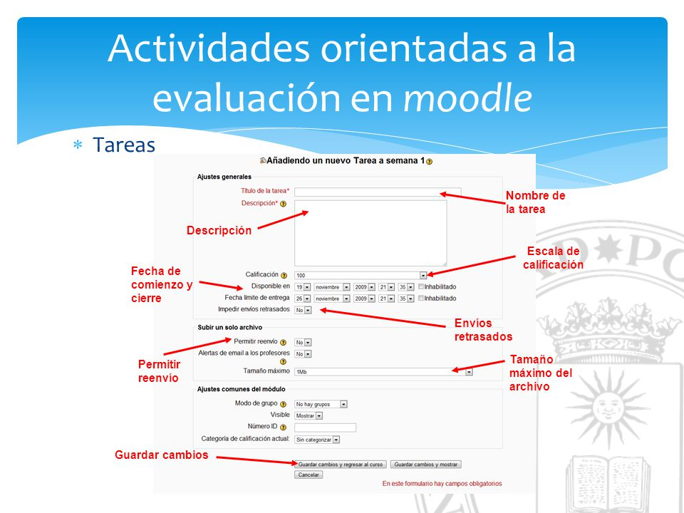 Actividades orientadas a la evaluación en moodle Tareas Nombre de la tarea Descripción Fecha de comienzo y cierre Escala de calificación Envíos retras