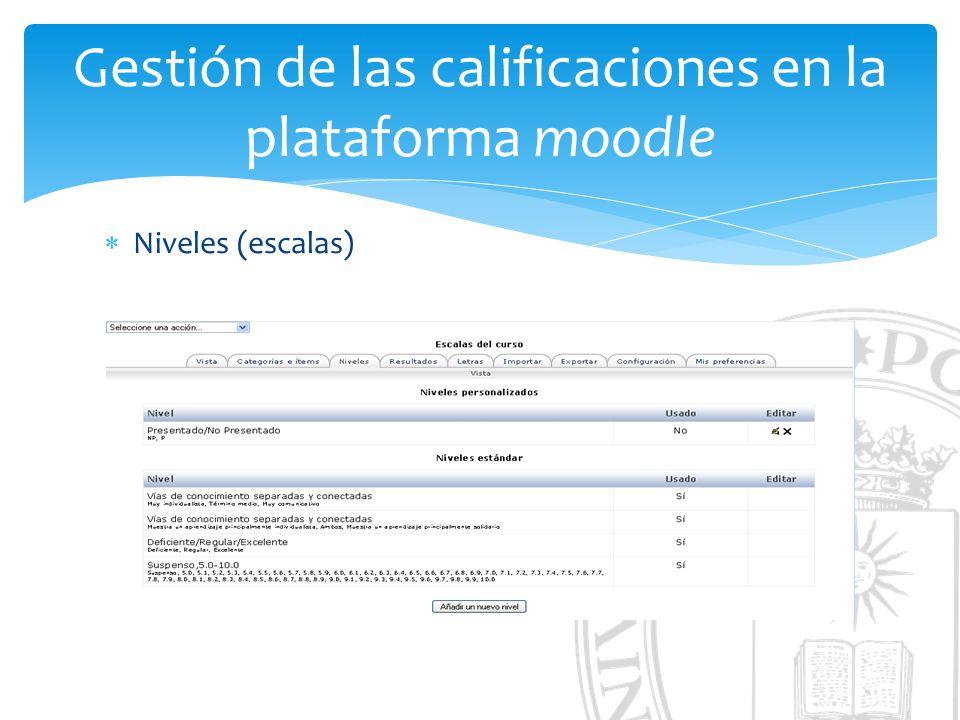 Gestión de las calificaciones en la plataforma moodle Niveles (escalas)
