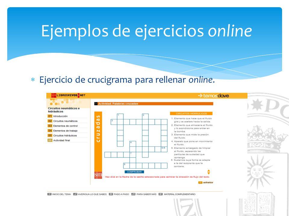 Ejemplos de ejercicios online Ejercicio de crucigrama para rellenar online.