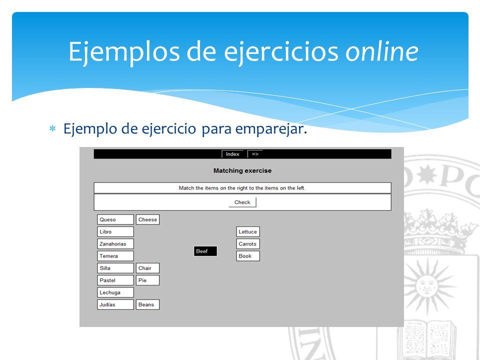 Ejemplos de ejercicios online Ejemplo de ejercicio para emparejar.