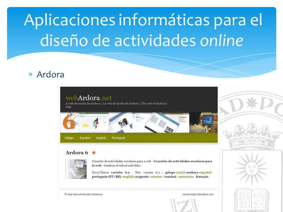 Aplicaciones informáticas para el diseño de actividades online Ardora