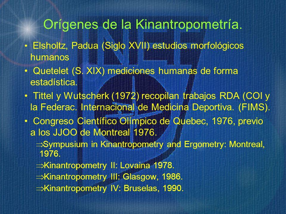 Orígenes de la Kinantropometría. Elsholtz, Padua (Siglo XVII) estudios morfológicos humanos Quetelet (S. XIX) mediciones humanas de forma estadística.