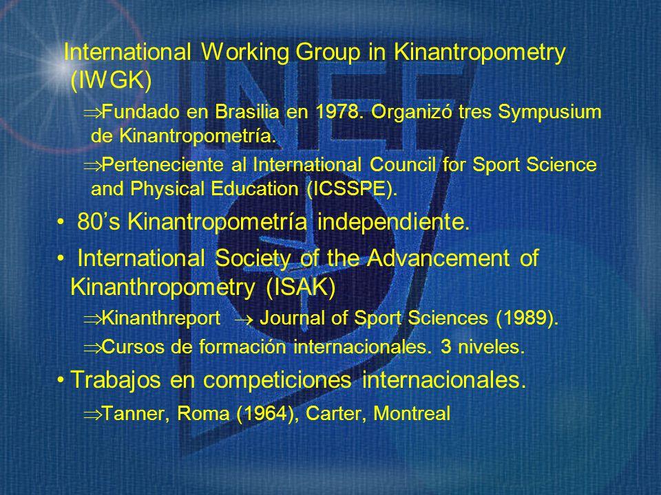 International Working Group in Kinantropometry (IWGK) Fundado en Brasilia en 1978. Organizó tres Sympusium de Kinantropometría. Perteneciente al Inter
