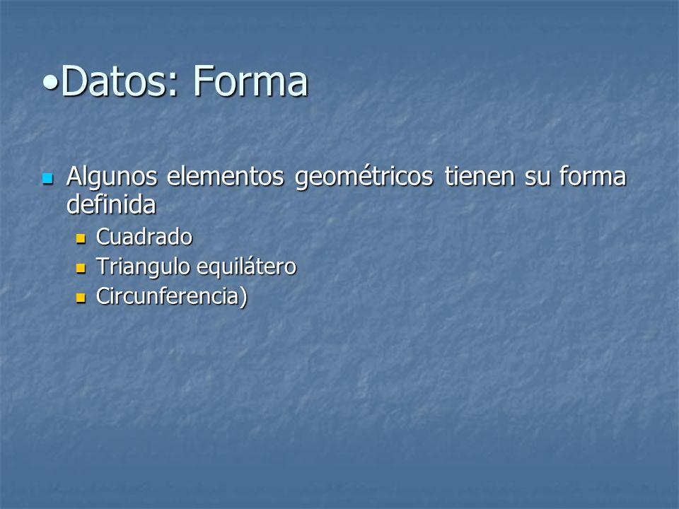 Datos: FormaDatos: Forma Algunos elementos geométricos tienen su forma definida Algunos elementos geométricos tienen su forma definida Cuadrado Cuadrado Triangulo equilátero Triangulo equilátero Circunferencia) Circunferencia)