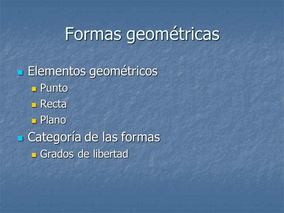 Formas geométricas Elementos geométricos Elementos geométricos Punto Punto Recta Recta Plano Plano Categoría de las formas Categoría de las formas Grados de libertad Grados de libertad