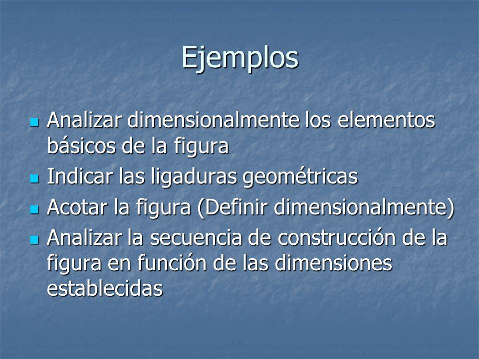 Ejemplos Analizar dimensionalmente los elementos básicos de la figura Analizar dimensionalmente los elementos básicos de la figura Indicar las ligaduras geométricas Indicar las ligaduras geométricas Acotar la figura (Definir dimensionalmente) Acotar la figura (Definir dimensionalmente) Analizar la secuencia de construcción de la figura en función de las dimensiones establecidas Analizar la secuencia de construcción de la figura en función de las dimensiones establecidas