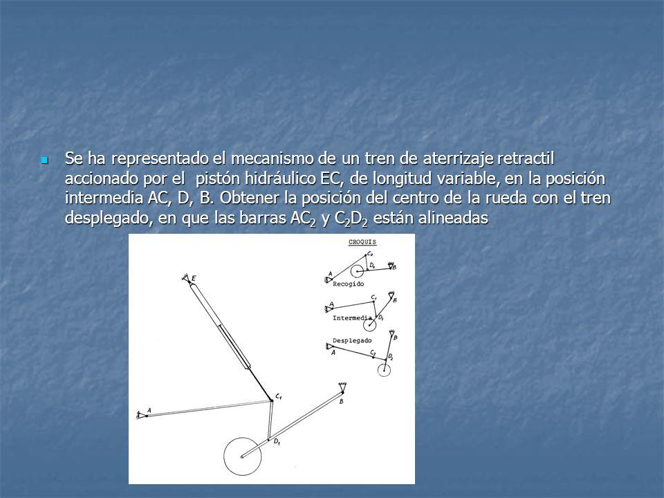 Se ha representado el mecanismo de un tren de aterrizaje retractil accionado por el pistón hidráulico EC, de longitud variable, en la posición intermedia AC, D, B.
